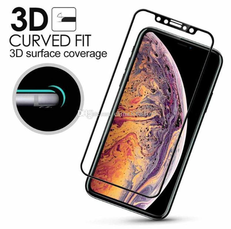 من ألياف الكربون 3D منحني لينة حافة الزجاج المقسى حامي الشاشة غطاء كامل لفون XS ماكس XR XS X 8 7 6 زائد