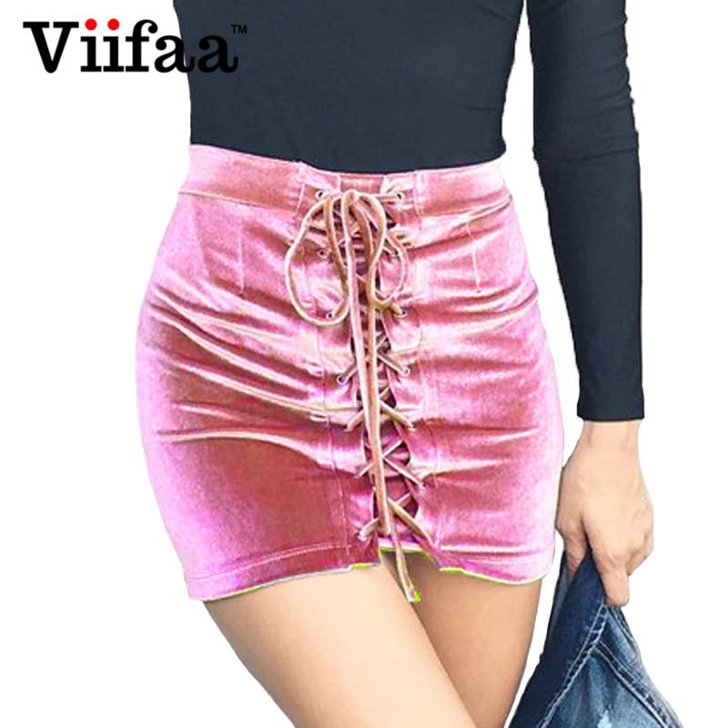 f00270b67 Compre Viifaa De Cintura Alta De Terciopelo Falda Corta De Las Mujeres 2017  Con Cordones Mini Falda De Verano De Las Señoras De Terciopelo Faldas De ...