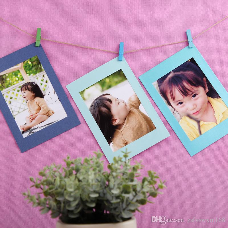 Wedding decoration Creative home hanging paper photo frame Colorful 10 pieces with hemp rope combination photo wall