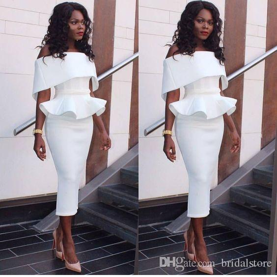 Elegant African tight prom dresses with peplum Off the shoulder formal Party Evening Gowns Tea Length cocktail Plus Size Short Prom Vestios