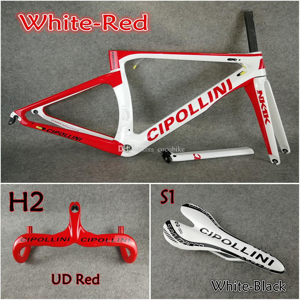Model of White-Red 3K/1K T1000 Cipollini NK1K carbon road frames+Handlebar+Saddle with BB68/BB30 Matte Glossy for selection free shipping