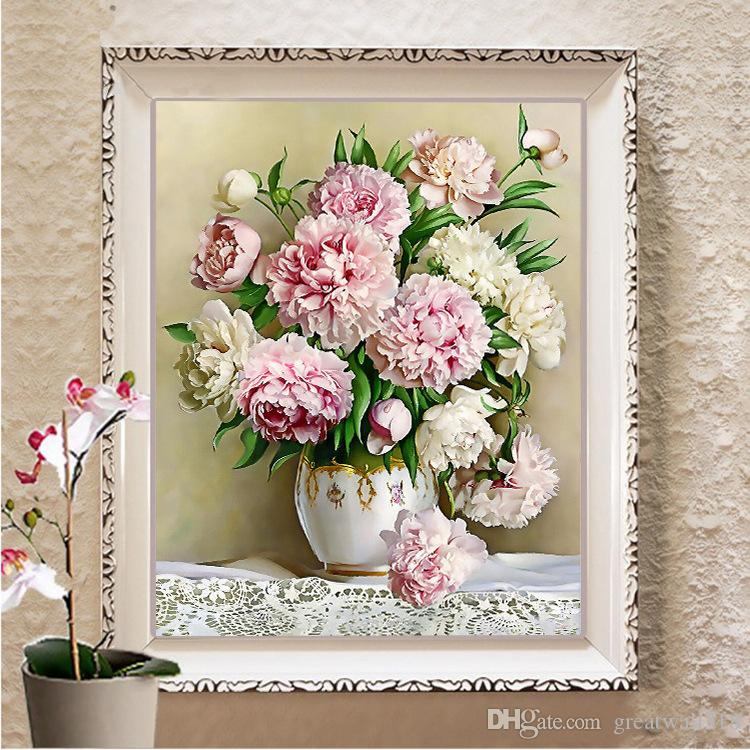Diamond Embroidery Flowers Picture of Rhinestones Diamond Painting Cross Stitch Peony Full Square Diamond Mosaic Sale LF-122
