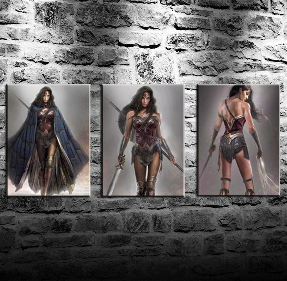 Wonder Woman Batman V Superman -2,3 Pieces Canvas Prints Wall Art Oil Painting Home Decor (Unframed/Framed)