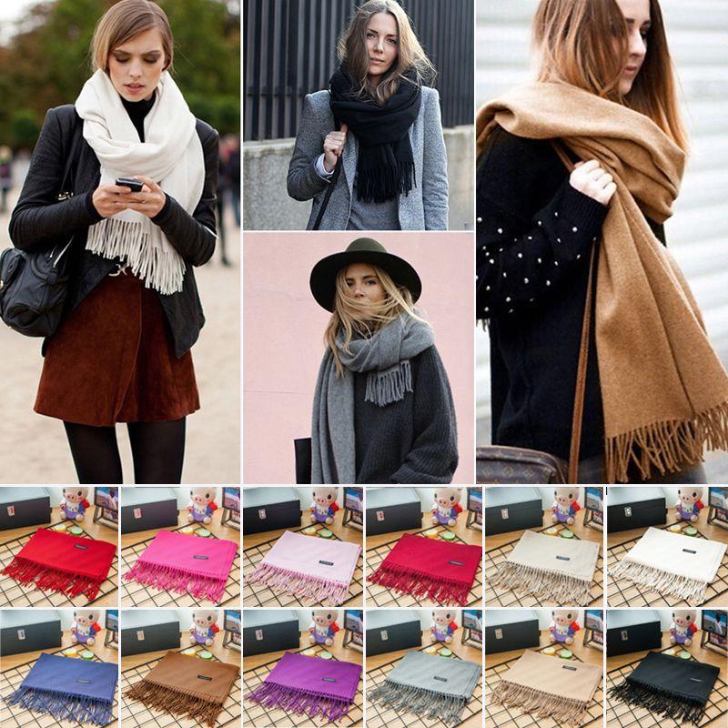 Frauen Kaschmir Warme Lange Schal Herbst Winter wolle Quaste Pashmina Schals Bandana Feste Poncho Schal Wrap 12 Farbe