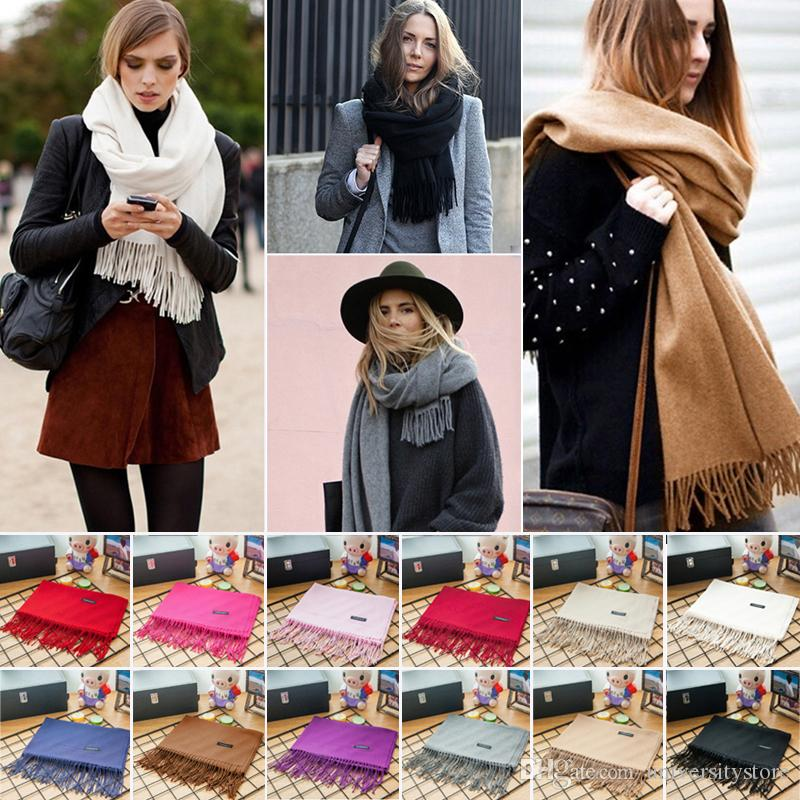 Mujeres Cachemira caliente bufanda larga otoño invierno lana borla Pashmina bufandas Bandana sólido Poncho mantón del abrigo 12 Color