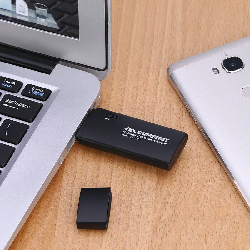 2.4GHz COMFAST CF-912AC 1200M Mini Dual Band / cartão de 5.8GHz de rede sem fio USB 3.0 WiFi Adapter Repeater frete grátis