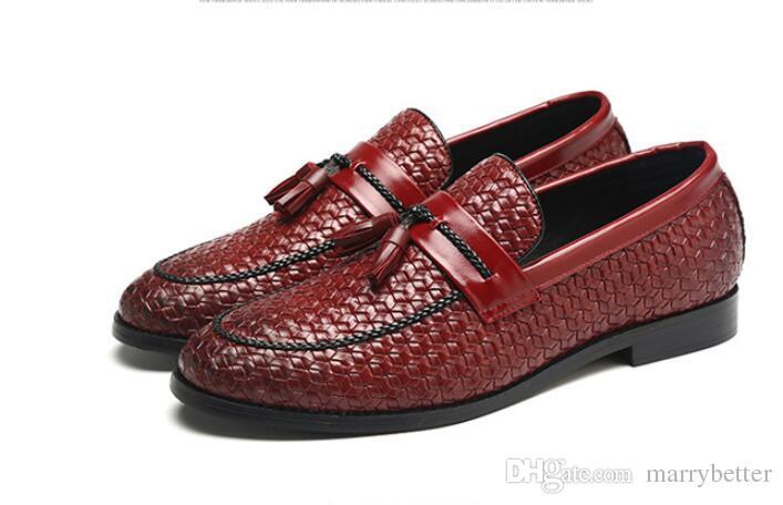 Heißer Verkauf Männer Schuhe luxus Braid Leder Casual Driving Oxfords Schuhe Männer Müßiggänger Mokassins Italienische Schuhe für Männer Wohnungen