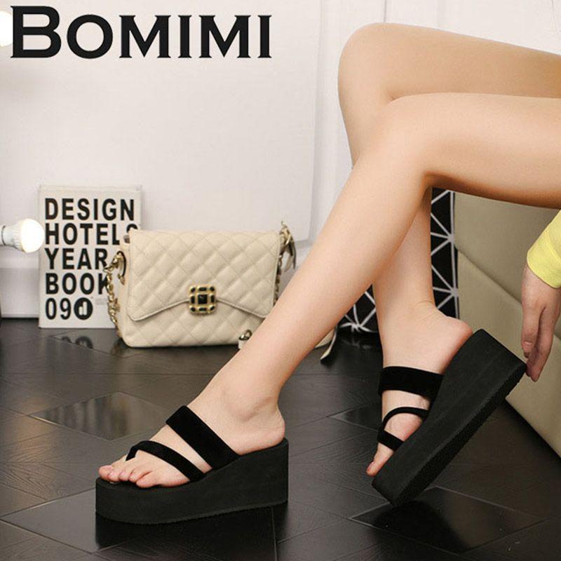 BOMIMI плюс размер 36-42 женские тапочки клинья туфли на платформе поролоновые тапочки женские летние вьетнамки пляжные сандалии Zapatos Mujer