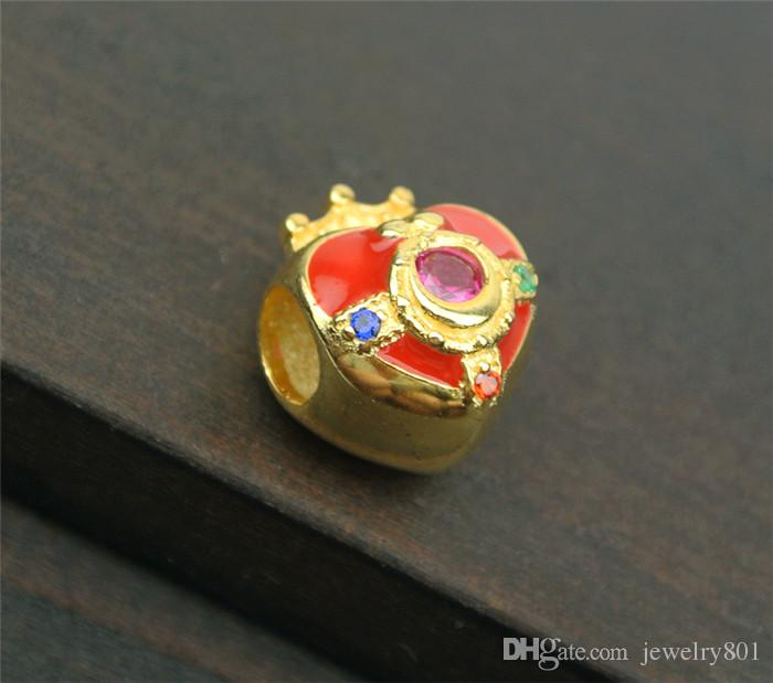 18K Heart Sailor Moon 20th Anniversary Pendant Charm Bead 925 Silver
