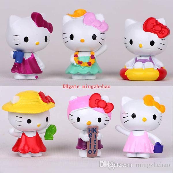 6 pçs / set 4 cm Bonito Kawaii Olá Kitty Pvc Telefone Chaveiros Figuras de Ação Brinquedos Crianças Bonecas Clássicas Caçoa o Presente