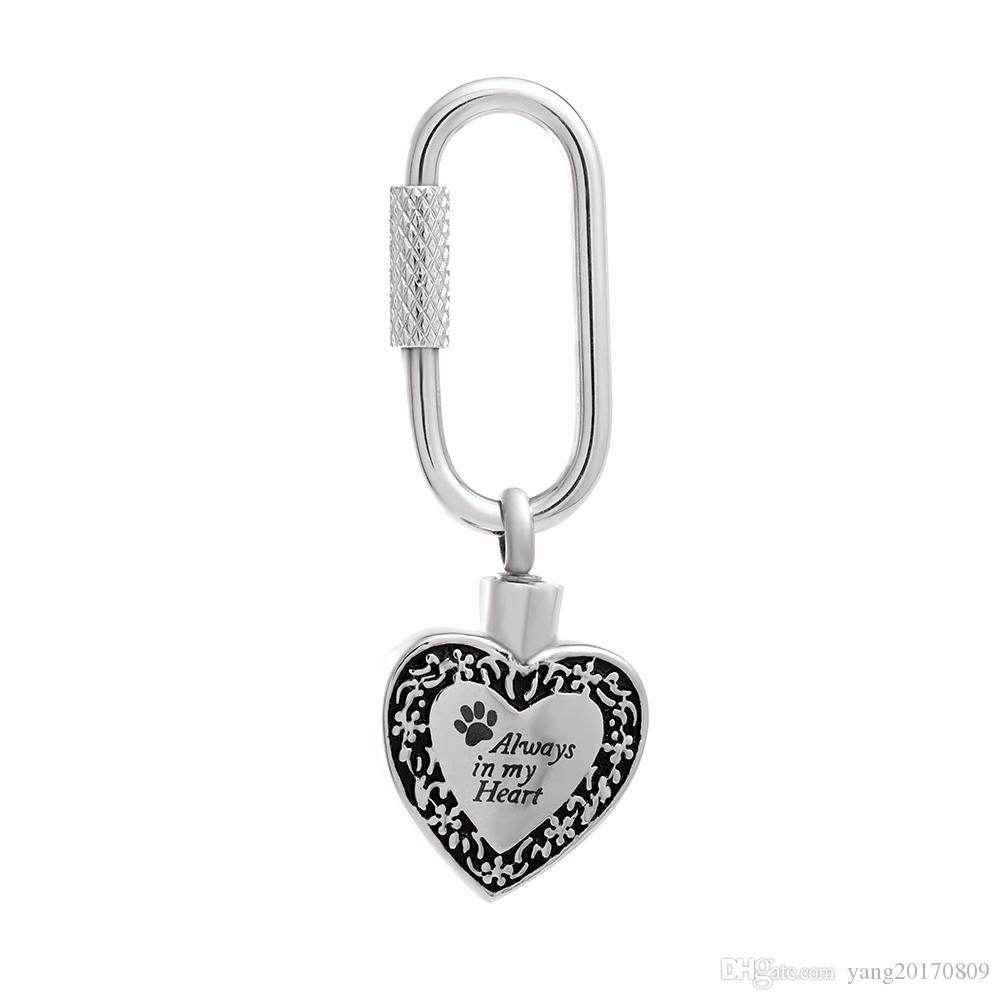 Stainless Steel Always In My Heart Keyring Print Heart Shape Cremation Ashes Memorial Souvenir for Men and Women Jewelry IJK2054