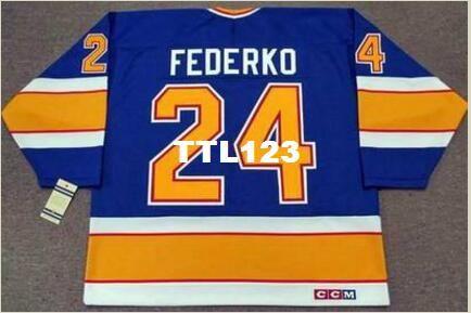 Uomo # 24 BERNIE FEDERKO St. Louis Blues CCM Vintage RETRO Home Hockey Jersey o personalizzato qualsiasi nome o numero Retro Jersey