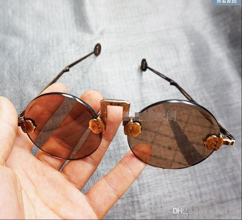Antique natural crystal glasses pure copper frame retro sunglasses film props