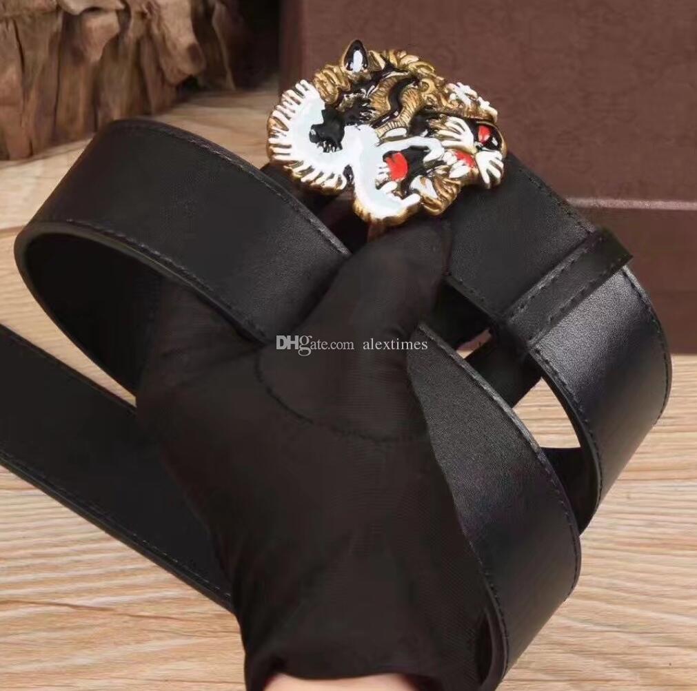 2018 Vente chaude Noir De Luxe Haute Qualité ceinture Designer Ceintures Mode Tigre motif animal boucle ceinture hommes ceinture pour cadeau