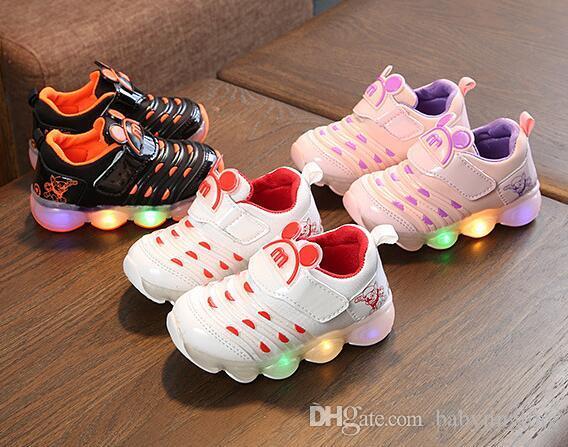 2019 светодиодные огни дети гусеницы повседневная обувь детские мальчики и девочки спортивные антискользящие детские туфли детские кроссовки