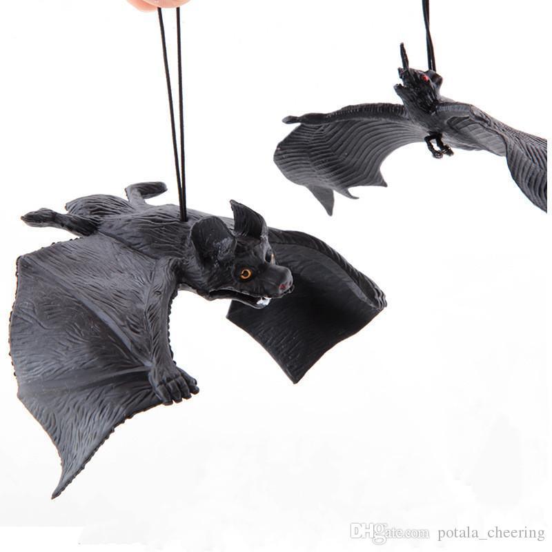 Horrrible Toy Simulated Spooky Big Black Bats Amusing Novelty Plastic Bat For Halloween Xmas Party Decoration Masquerade Party Decor 3D