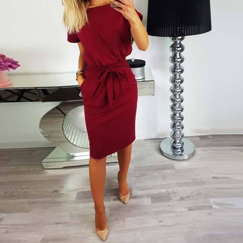 Yeni 2018 kadın elbise Yaz kısa kollu o boyun zarif yay bağları rahat ofis bayan iş pist elbiseler tunik WS5815k