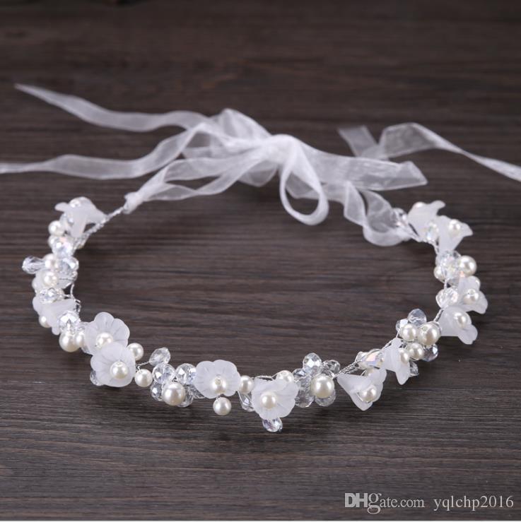 Nupcial hecho a mano de cristal cabeza de la flor vestido de boda accesorios de accesorios con accesorios para el cabello de los niños
