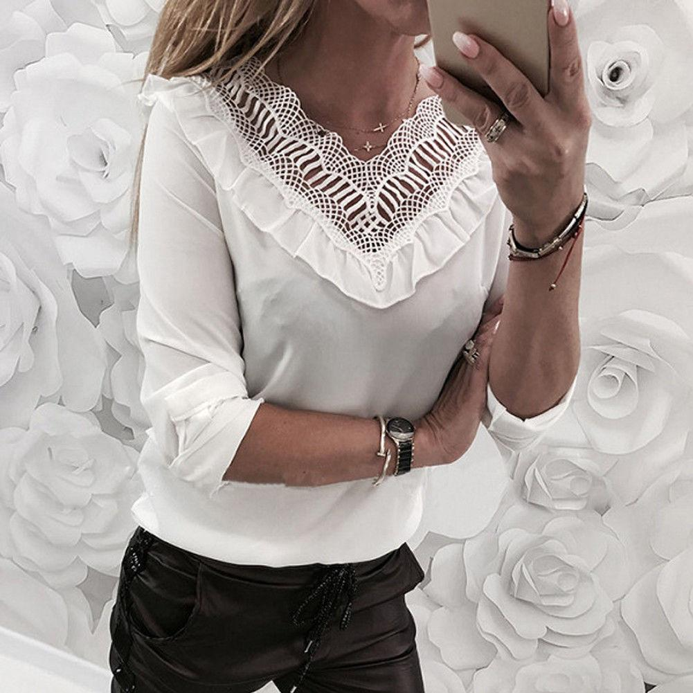 Ladies Casual V-Neck T-Shirt Solid Black White Pullover Tops Women Autumn Sexy Lace Long Sleeve Slim Top