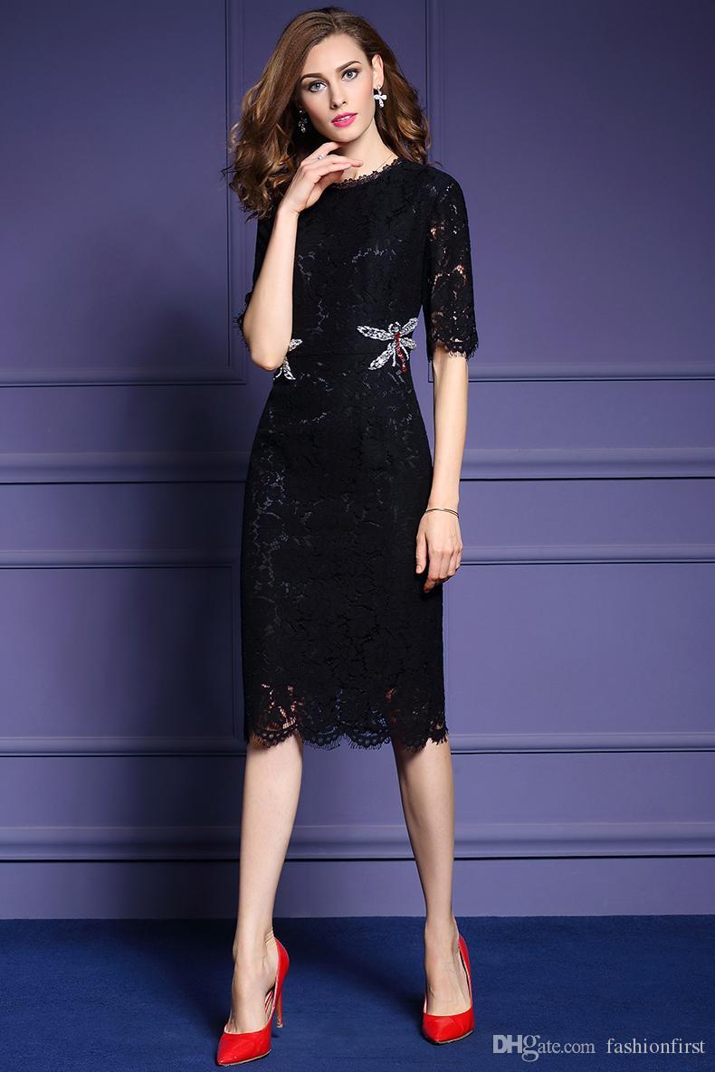 green black lace pattern office dress work dress knee length day winter women autumn formal elegant office dress for ladies