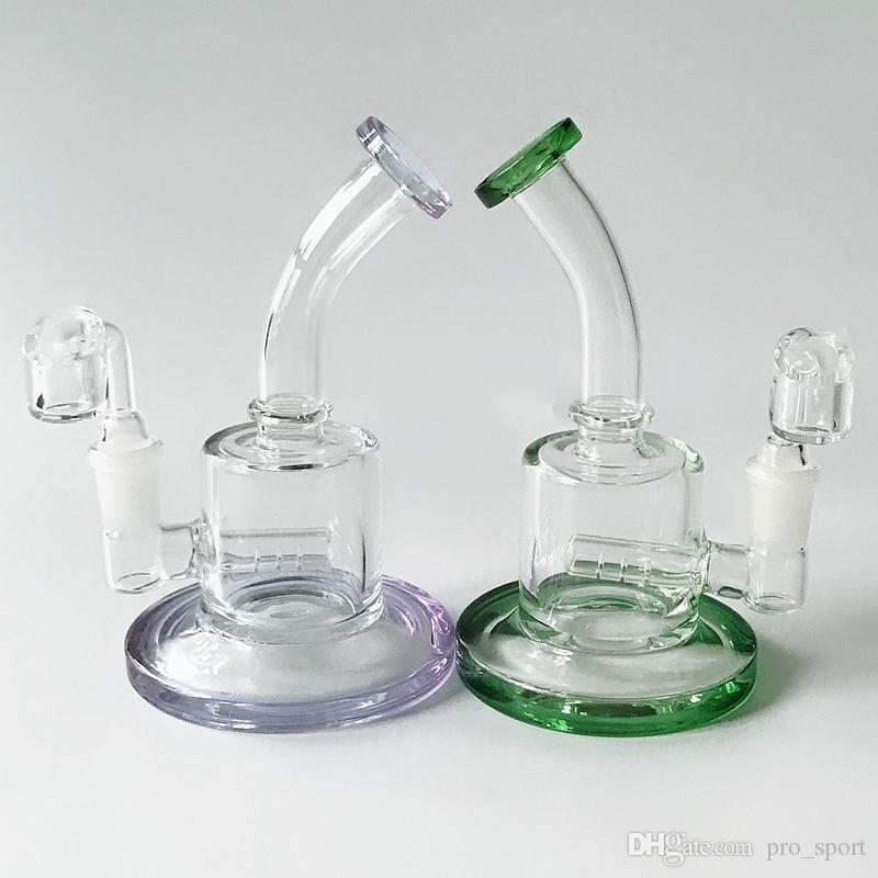 Mini Glas Wasser Bongs 5 Zoll gebogenes Rohr Wasserrohre Inline Percs Glas Hookahs Zwei Funktionen Bongs Bohrinseln 14.5mm