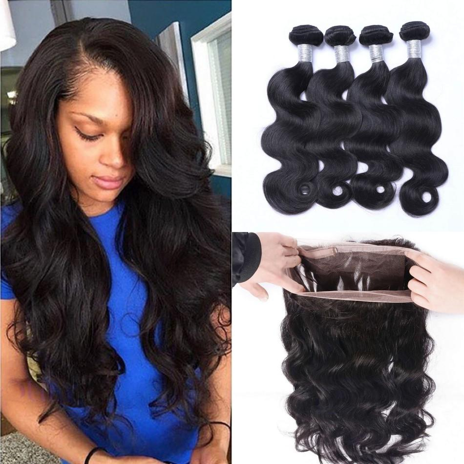 Mongolian Body Wave 360 Lace Frontal Closure with 4 Bundles Unprocessed Human Hair with Pre Plucked 360 Frontal