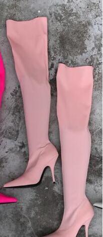 Compre Newes Otoño Invierno Mujer Zapatos De Vestir Botas Largas Elásticas Botas Sobre La Rodilla Botines De Tacón Fino A 9224 Del Nevada