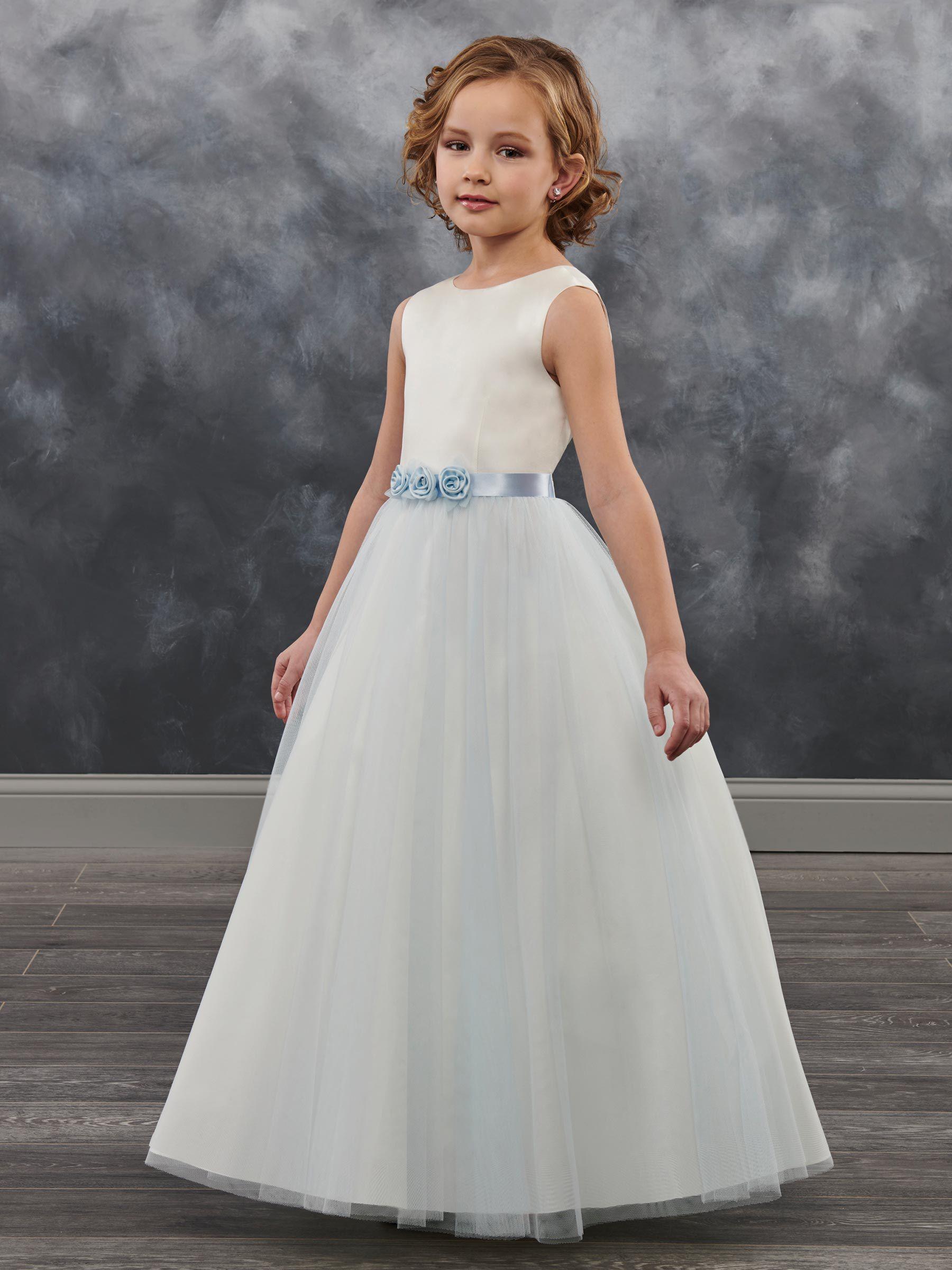 Uroczy IvoryBlue Tulle Jewel Flowers Flower Girl Dresses Girls 'Pagews Sukienki Wakacje / Urodziny Dress / Spódnica Custom Size 2-14 DF718425