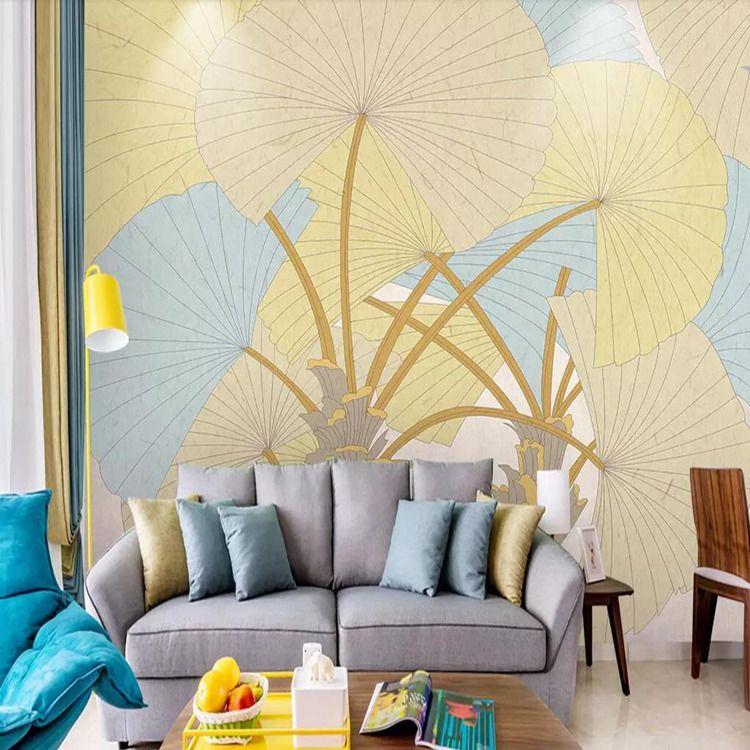 3d American European Nordic Mediterranean Small Fresh Plant Banana Leaf Sofa Bedroom TV Background Wall Wallpaper Mural