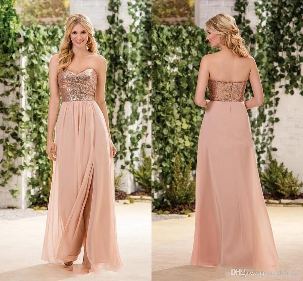 Compre Jasmine Rose Gold Sequind Vestidos De Dama De Honra Side Dividir Uma Linha Chiffon Saia Querida Dama De Honra Vestidos De Casamento Convidado