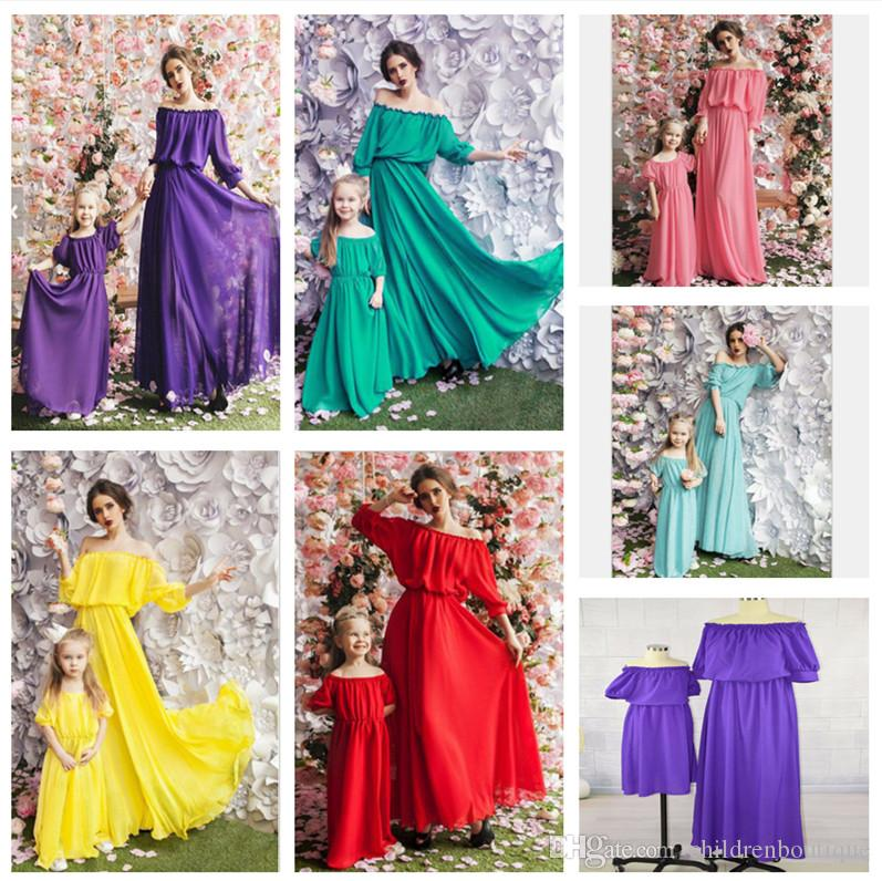 Mommy And Me Dresses Family Matching Clothes Mother And Daughter Dresses Family Look Kids Girls Half Sleeve Dress Outfits Ball Gown 6Colors
