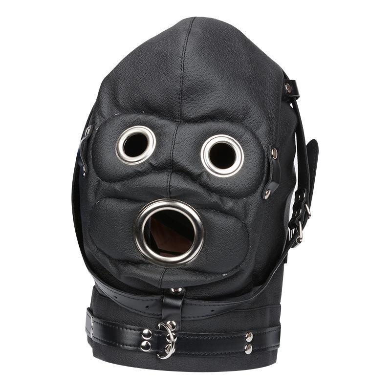 BDSM Bondage Gear Sex Cappe mascherina del partito capo con la bocca morso Dildo bavaglio per Erotica Gioca Ecopelle nera Dropshipping BXA482