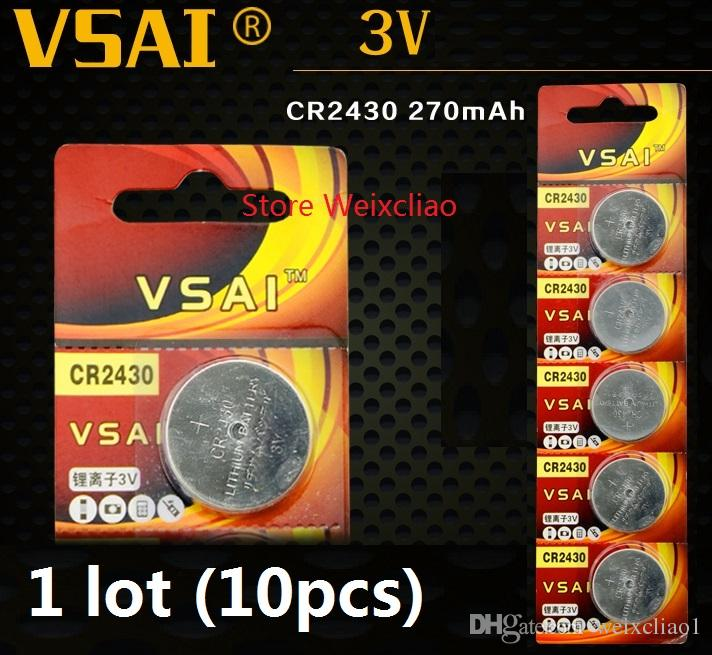 10pcs 1 lot CR2430 3V lithium li ion button cell battery CR 2430 3 Volt li-ion coin batteries VSAI Free Shipping