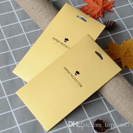 Saco de caixa de pacote de varejo cartão ouro para protetor de tela de vidro temperado para iphone x 7 8 plus samsung galaxy s8 s9 huawei opp