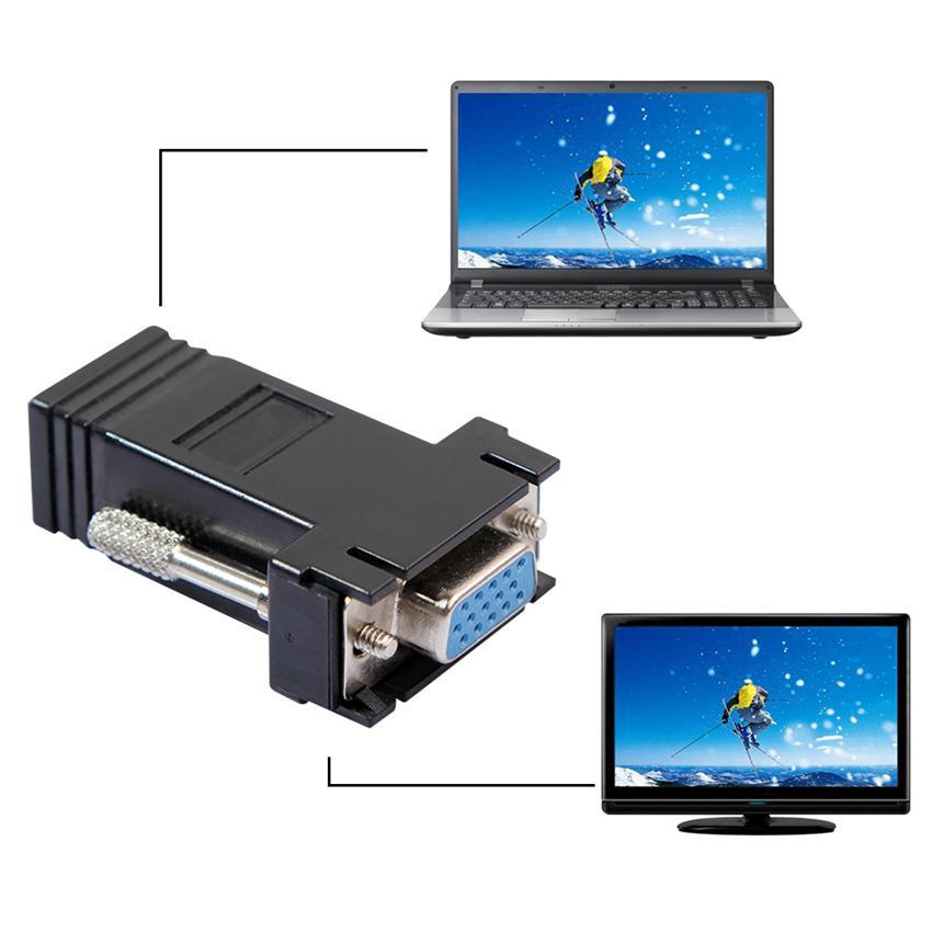 Adaptateur d'extension VGA femelle vers réseau local Adaptateur Ethernet RJ45 femelle Cat5e / 6 Cat5e / 6 pour connexion VGA Fto RJ45 F noir