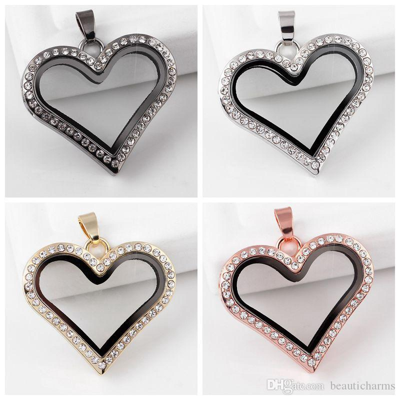 5pcs/lot 37mm*31mm*7mm Rhinestone Heart floating glass locket pendent Fit Floating Charms DIY Necklace Jewelry Making