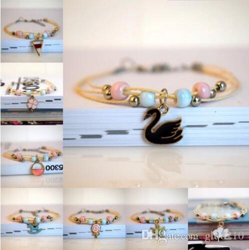 Цзиндэчжэнь браслет из керамических бусин Стильный браслет ручной работы плетеный маленький свежий кулон Студент Любители ювелирных украшений Mix Order factory factory 24pcs