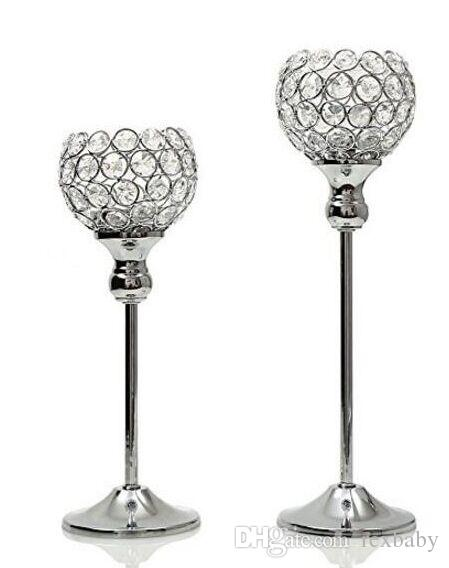metal silver plated candle holder with crystals. wedding candelabra/centerpiece decoration,1 set=2 pcs candlestick
