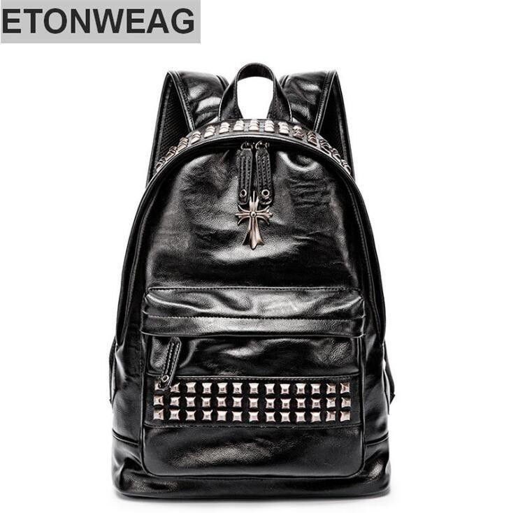 Fabrika toptan marka erkek çanta moda deri omuz sırt çantası kişilik perçin sırt çantası eğlence perçin seyahat çift omuz Sırt Çantası