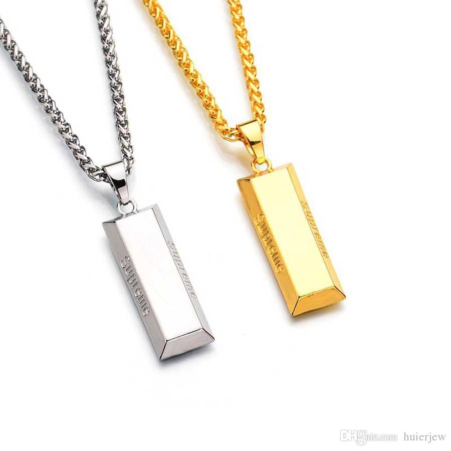 الهيب هوب مجوهرات الذهب مكعب بار NecklacePendant الهيب هوب مجوهرات الرقص سحر سلاسل الذهب فرانكو للرجال قلادة
