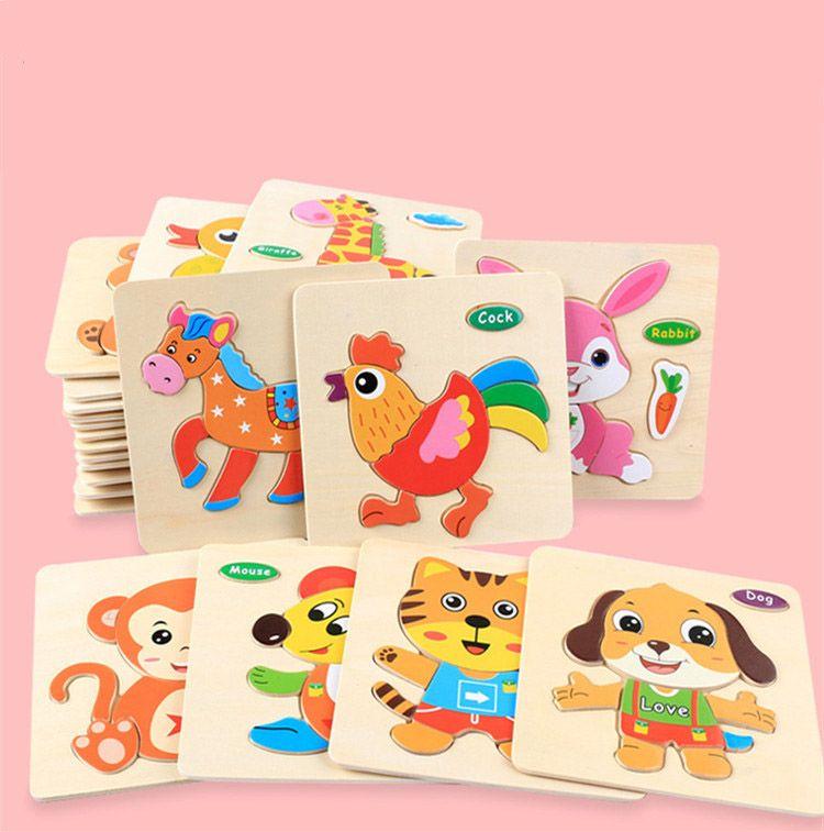 아기를위한 장난감 다채로운 나무 퍼즐 동물 교육 발달 아기 키즈 훈련 장난감 교육 장난감 아기를위한 선물