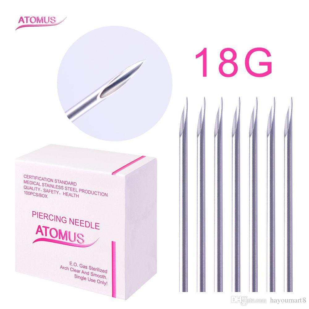 100 adet / grup Steril Tek Kullanımlık Tıbbi Sınıf Vücut Piercing Iğne 18G Için Tool Kit Kulak Burun Göbek Aracı