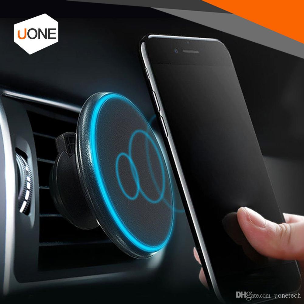 Manyetik Qi Kablosuz Araç Şarj Şarj Hava Firar Dağı Tutucu 360 ° döner ayar 5 V / 2A için iPhone 8 X Samsung Galaxy S8 ile paket