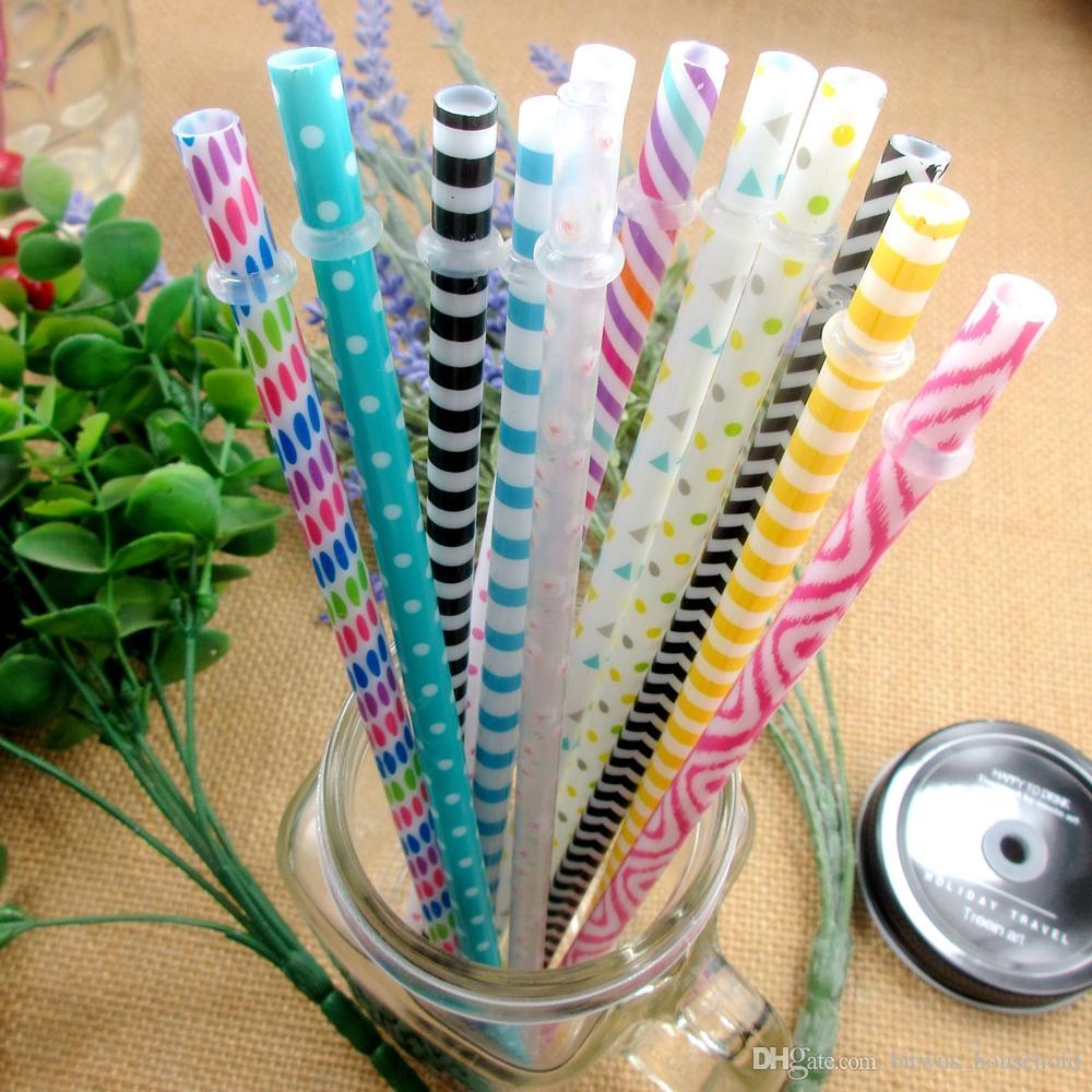 Wiederverwendbare Strohhalm Bunte Trinkhalme aus Plastik für Party 50