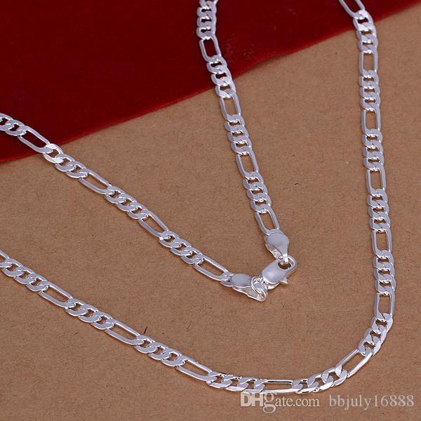 Collier en argent sterling 925 Nouveaux articles Hommes Bijoux Haute Qualité Argent 4 MM Figaro Chaîne Collier pour hommes