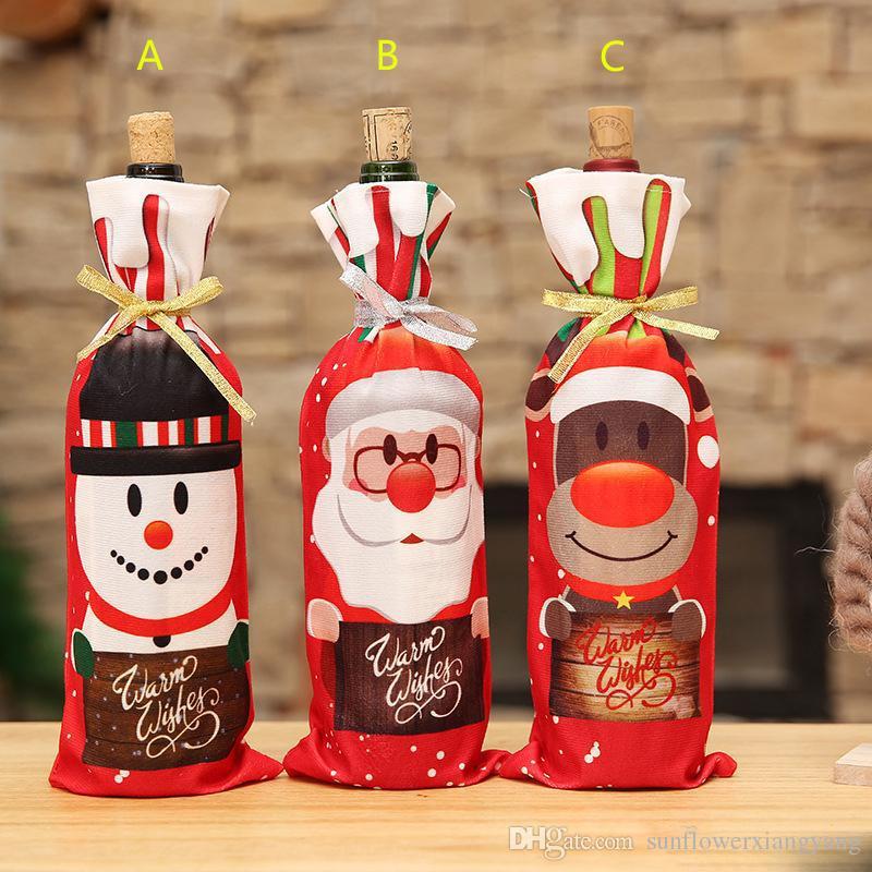 Garrafa de Vinho de natal Roupas de Papai Noel Boneco de Neve Elk Garrafa De Vinho Tampa Sacos de Enfeites De Natal De Malha Garrafa De Vinho Manga