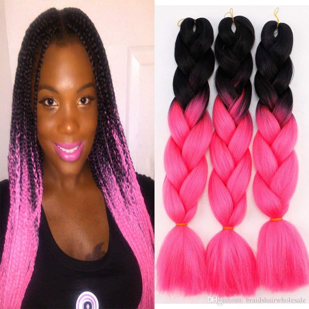 Ombre Kanekalon extensões do cabelo da trança 24inch 100g / pcs Jumbo cabelo sintético Rosa Roxo Azul extensões de preto para branco quente tranças