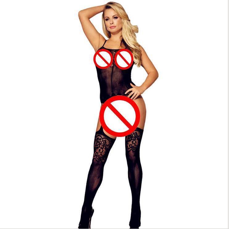 2018 Femmes sexy chaud sexy noir complet corps résille oeil costume ouvert combinaison jacquard serré tentation sous-vêtements chaussettes maille érotique