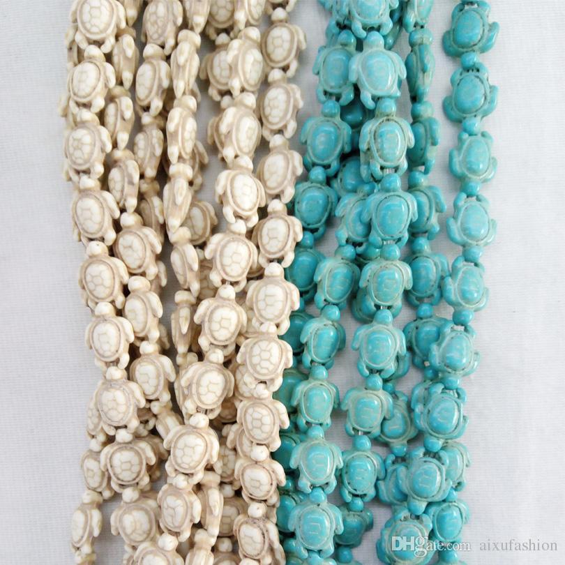 Comercio al por mayor tallado Sea Howlite tortuga bolas de piedra encanto para pulseras fabricación de joyas 14 * 18 mm blanco azul turquesa cuentas de piedra de la tortuga