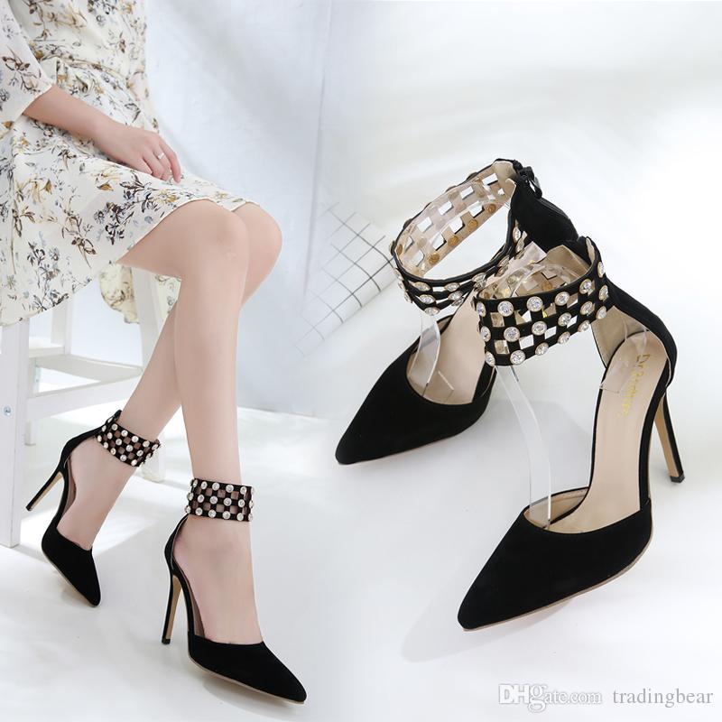 chaussures design de luxe femmes bout pointu strass suède synthétique noir pompes bureau chaussures de dame taille 35 à 40
